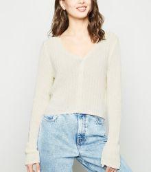 La mujer de Cultivo de tejido fino estriado blanco Cardigan ropa
