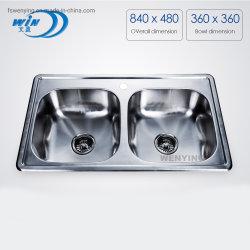 Taça duplo personalizado de cozinha pia de cozinha fabricantes OEM 3319
