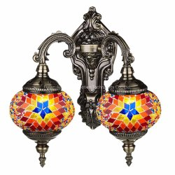 Lamp-Handmade mosaico Mosaico turco de la luz de doble pared con la linterna de mosaico (rojo)