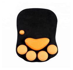 도매 주문 로고 고양이 발 모양 컴퓨터 손목 마우스 패드