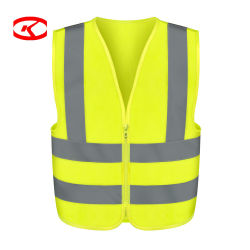 De in het groot HS Bouw van het Zicht van de Code Hoge met Embleem die Gele Klasse 2 afdrukken van het Vest van de Veiligheid van de Motorfiets Weerspiegelende