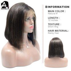 Angelbella reta e sedosa Perucas Remy de cabelo humano frente Rendas Perucas para o Salão Lady Stock