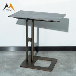 Fabrik kundenspezifischer moderner Möbel-Edelstahl-Marmor-Seiten-Tisch