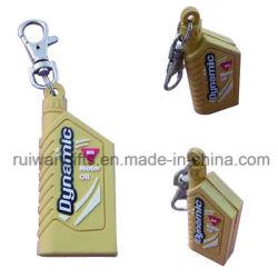 びんの整形習慣昇進のギフトのためのロゴの両側3D PVC Keychain