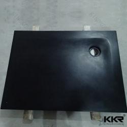 Cassetto profondo di superficie solido acrilico antiscorrimento nero dell'acquazzone
