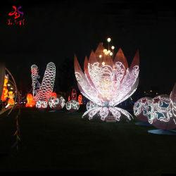 سنة جديدة مهرجان زخرفة بناء تقليديّ لوطس فانوس