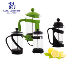 Vidrio de borosilicato barato café, té Mayorista de prensa francesa Tetera de Pyrex con mango de plástico GB11560350-4