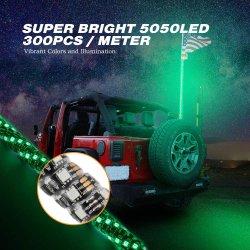 Venda por preço de fábrica 12V 5FT levou chicotear perseguindo com controle remoto de cor RGB LED luz pavilhão peças UTV