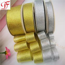 Fábrica de mayorista de Navidad personalizadas OEM tejida Color del cuadro oro y plata, el color de cinta de Grosgrain metálicos, satén, Organza cinta de opciones para la decoración de Arcos/Ajuste/