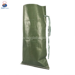La oferta China tratados 50lbs UV PP verde bolsa de arena con Tie