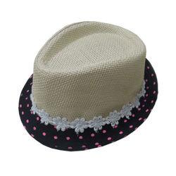 Custom Black Brim Fashion Summer Fedora Paper Straw Hat Baby Cap