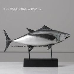 Cadeaux pour les fêtes gris argenté Statue en résine de poisson pour la décoration de la chambre