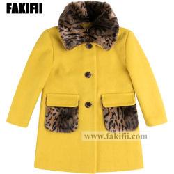Marque de qualité haut de gamme de vêtements pour bébés enfants fille d'hiver du vêtement de laine jaune manteau de fourrure Kid Partie de l'usure