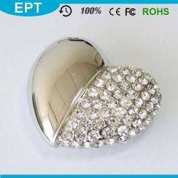 8GB de zilveren Aandrijving van de Flits van de Juwelen USB van de Vorm van het Hart van het Kristal met Halsband