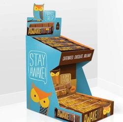 Promoción de cartón de café mesa de soporte de pantalla para rack de papel, Pop-up display Pantalla Cargador de estante de cartón corrugado, bandeja de papel de expositor de suelo para almacenar