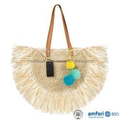 Top Fashion femmes Tassel Handwoven Beach Tote sac à main Hobo armure ronde de l'épaule Sac sac à main