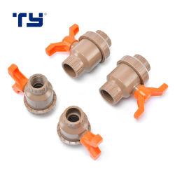 Accesorios de tubería CPVC PVC doble válvula de compuerta Válvula de bola de la Unión