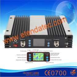 23dBm 75dB GSM900MHz Telefoon Hulp3G 4G Lte van de Cel van de Band WCDMA2100 van de Versterker Dcs1800 de Drievoudige de Mobiele Repeater van het Signaal met LCD Vertoning