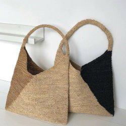 Lado de malhas tecidos Papel Saco de palha de Verão para Mulheres