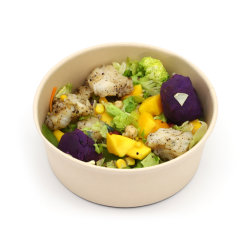 Bol de papier pour la nourriture chaude de la salade de fruits de la soupe avec couvercles de la graisse Deli résistance