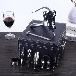 Cuir synthétique boîte cadeau Bar Vin Outils Gift Sets avec votre logo