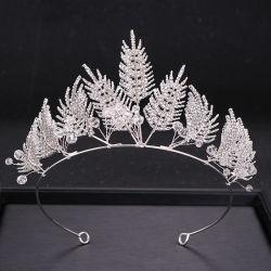 Кристально чистый лист форма моды серебро украшения Jewel Tiara головки блока цилиндров