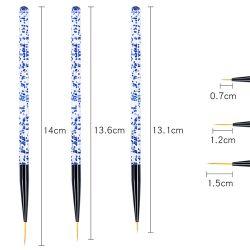 Tamanho de 3 Friso de pintura de Arte de unhas de acrílico Ajuste da Escova Maniure Ferramenta de desenho