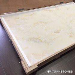Hoja de alabastro Transtones Faux Paneles de pared de piedra decorados de inicio