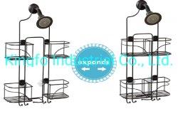 2 casa de banho de metal Fio Ajustável Chuveiro Rack Caddy-Shower Prateleira do Organizador