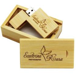 عيدان محذوفات البامبو ذات محذوفات طبيعية مع USB خشبي 16 جيجا بايت في الحزمة الذاكرة بطاقات تخزين صور الهدايا