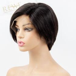 Pixie Bob cortas pelucas 13X6 delantera de encaje peluca corta pelo humano Borgoña recto en color negro para la Mujer de Cabello Remy