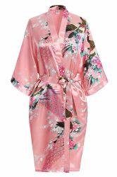 Erstklassige Pfau-Brautjunfer-Brautdusche-Kimono-Robe des Geschenks der Frauen