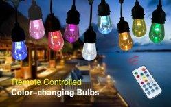 Changement de couleur contrôlé à distance E26 E27 Ampoule de LED S14 Cafe Patio lumière chaîne