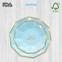 Одноразовые Логотип экологически безопасные Decagon сторона пластины бумаги