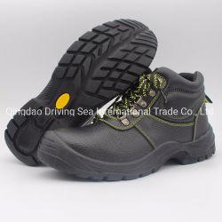 Chaussures de sécurité avec le processus de moulage par injection de PU noir en cuir de travail