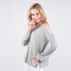 Женщин в круглой горловины шелка и кашемира смешанных моды стильный пуловер с гильзы
