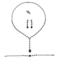 925 Joyería de Plata forma de pera novia conjunto completo de la moda de gama alta joyería de plata
