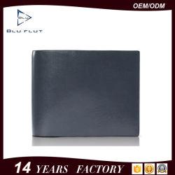 Logotipo personalizado Diseño clásico de cuero cuero genuino Monedero Hombre delgado con una elegante caja de regalo