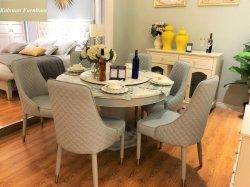 Design clássico mobiliário mesa de jantar de luxo em mármore com cadeira de couro