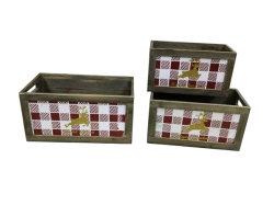 Woody Golden Moose - grille de boîte en bois à motifs avec des poignées