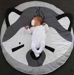 Kinderkruipende Mat, Round Baby Game Mat Education peuter Carpet, Cartoon Animal Print Mat Non-Slip Sleeping Mat Esg14002