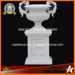 Escultura en piedra de mármol blanco maceta para jardín decoración exterior