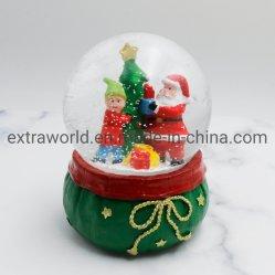 Polyresin ремесел украшения рождественских подарков Санта-65мм снега земного шара