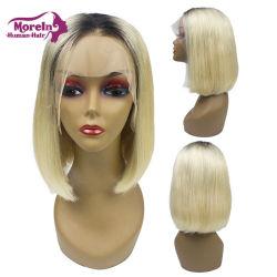 Meilleure vente Grade 10une matière sèche deux tons de couleur 1b/613 Bob dentelle avant Perruques Cheveux humains