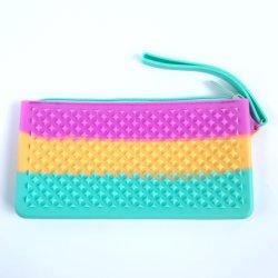 Silicone caneta colorida caixa de lápis Papelaria bolsa com sacos de cosméticos