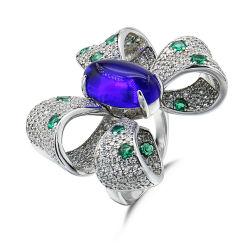 Brincos de prata moda elegante em forma de borboleta e Anel delicado para as mulheres