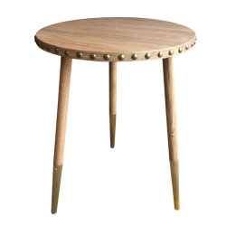 3 Bein-runde Eichen-Bronzen-Messingmetallseiten-Enden-Tische