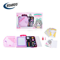Mädchen-rosafarbener Verfassungs-Kasten-kosmetische Spielwaren mit Zeichnungs-Buch