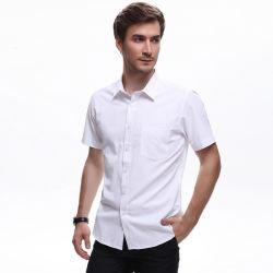 Camicia casuale 100% di estate degli uomini del cotone della camicia del manicotto di Short della stampa della banda della saia