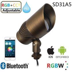 RGB Bluetooth+AAC Foco Accesorio de latón regulable con IP65